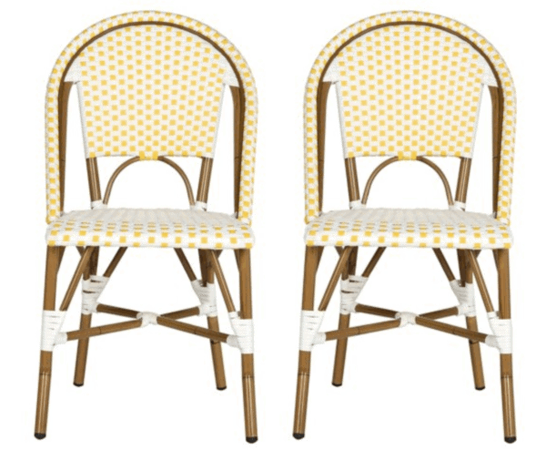 pair yellow french bistro chairs