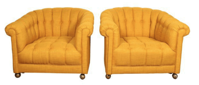 Vintage Reupholstered Tufted Yellow Club Chairs