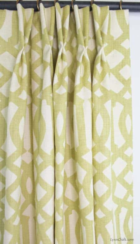 Schumacher Imperial Trellis in Citrine Pleated Drapes