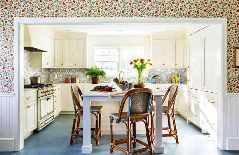 homey kitchen green floors tilton fenwick