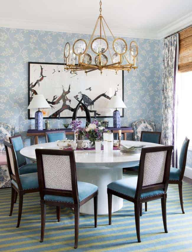 ecletic blue wallpaper dining room