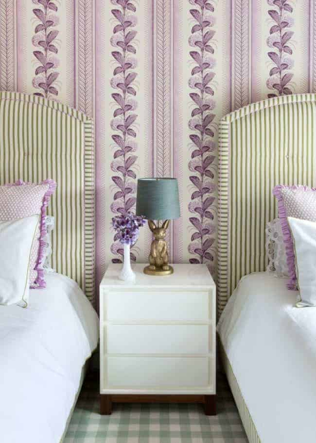 wallpaper girl's room with twin beds
