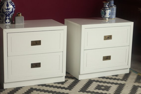 5 Awesome Campaign Furniture Sources on Etsy pair nightstand dresser desk
