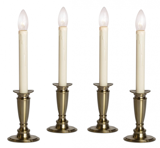 Set of 4 Brushed Brass Battery Operated Flickering Candles