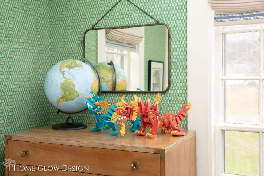 Green wallpaper boys room Home Glow Design