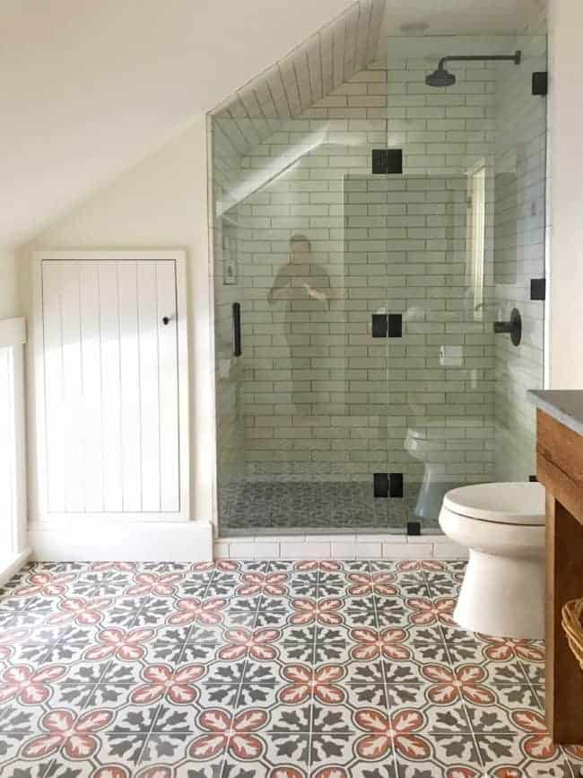 Rustic bathroom with cement tile by Home Glow Design