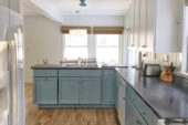 Project Update HGD Lake Camp cottage seafoam aqua turquoise blue kitchen cabinets gray counters