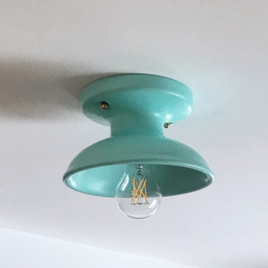Project Update HGD Lake Camp cottage seafoam aqua turquoise mint flush mount