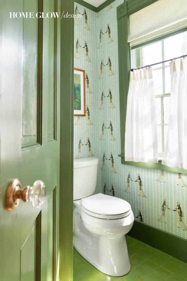 No Plain Jane Powder Home Glow Design Green Trim Tile