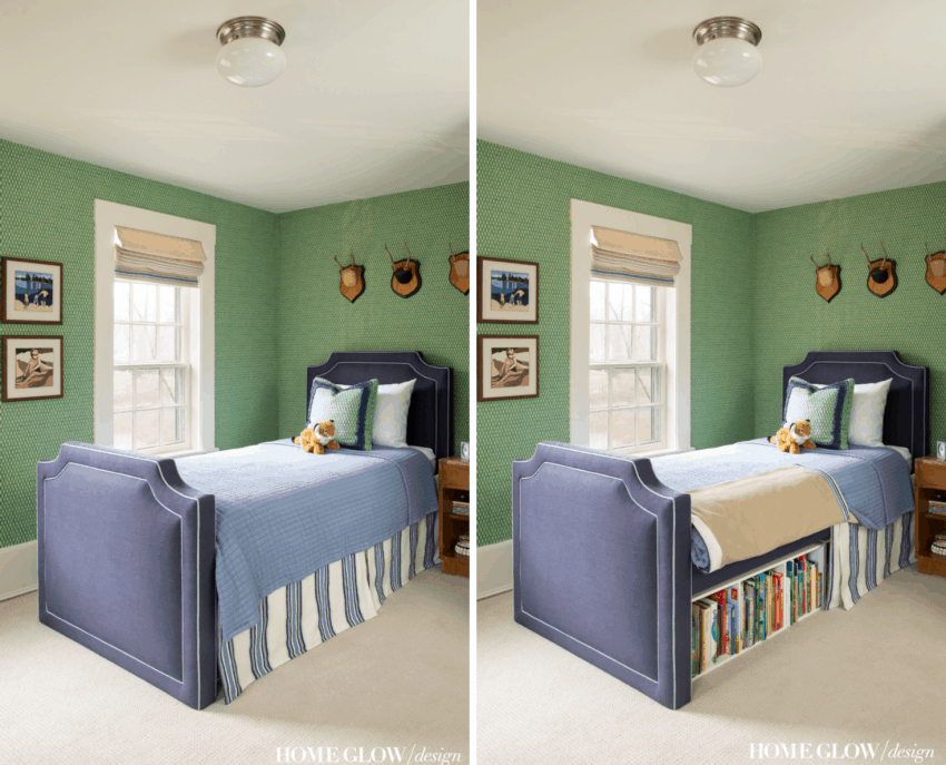 Vintage Boy Bedroom with Secret Small Space Library Under Bed, custom navy storage bed