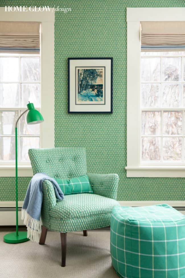 Boy's Green & Vintage Bedroom Reveal, wallpaper and vintage chair