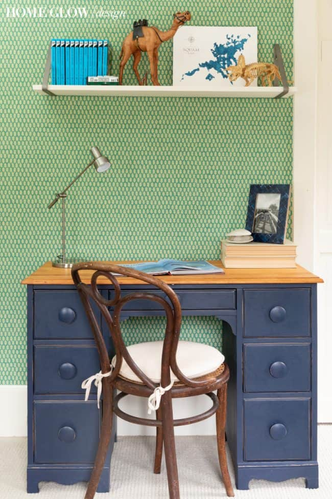 Boy's Green & Vintage Bedroom Reveal, navy desk with shelf bracket