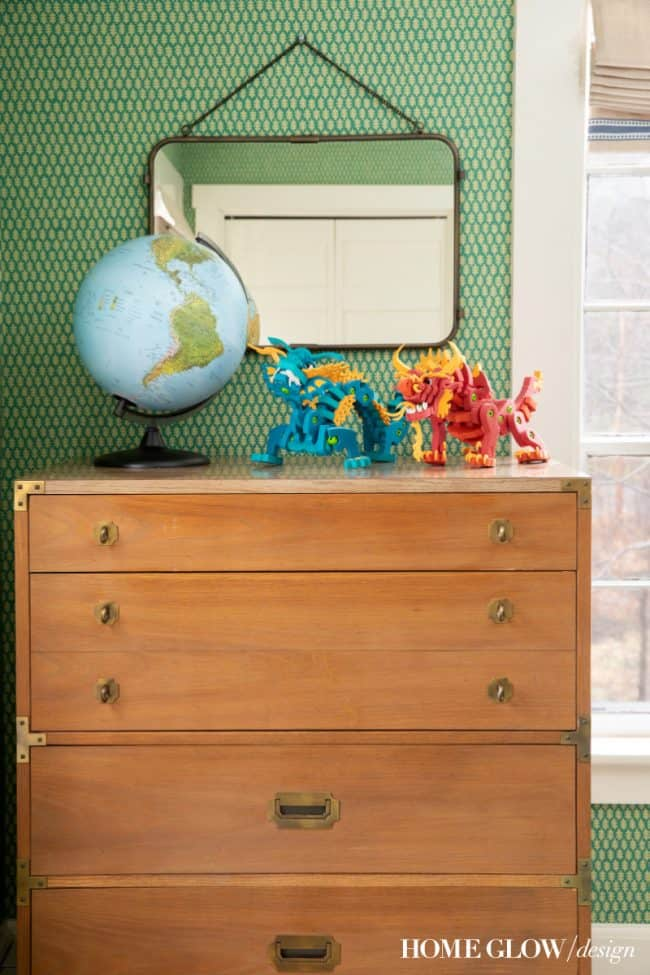Boy's Green & Vintage Bedroom Reveal, campaign dresser