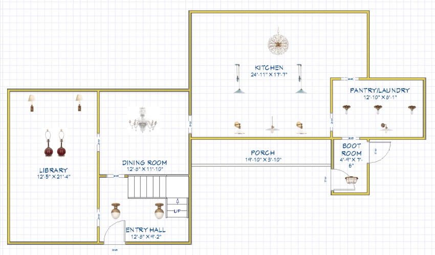 Home Glow Design 1st Floor Lighting Plan