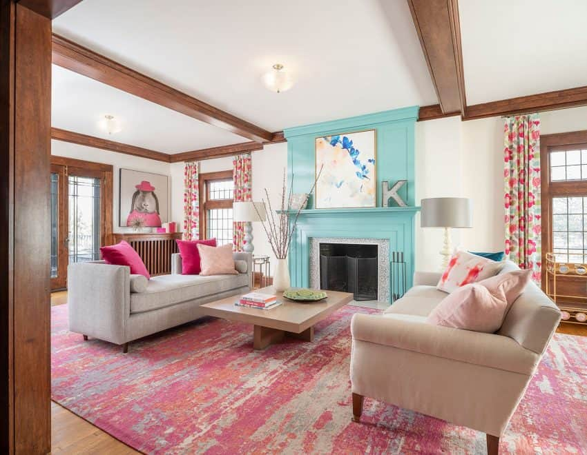 A Seriously Happy House for a Not-So-Serious Family (And it has stained wood trim!)