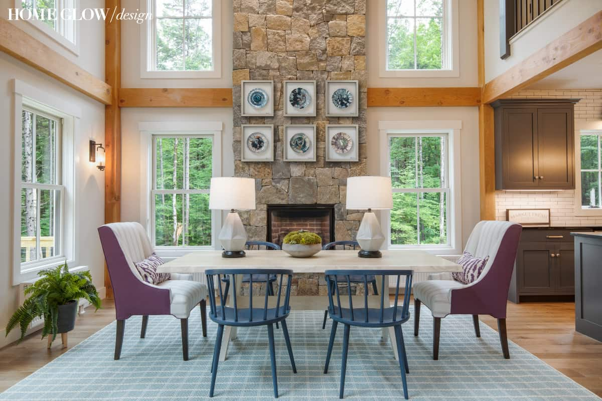 post & beam great room by home glow design