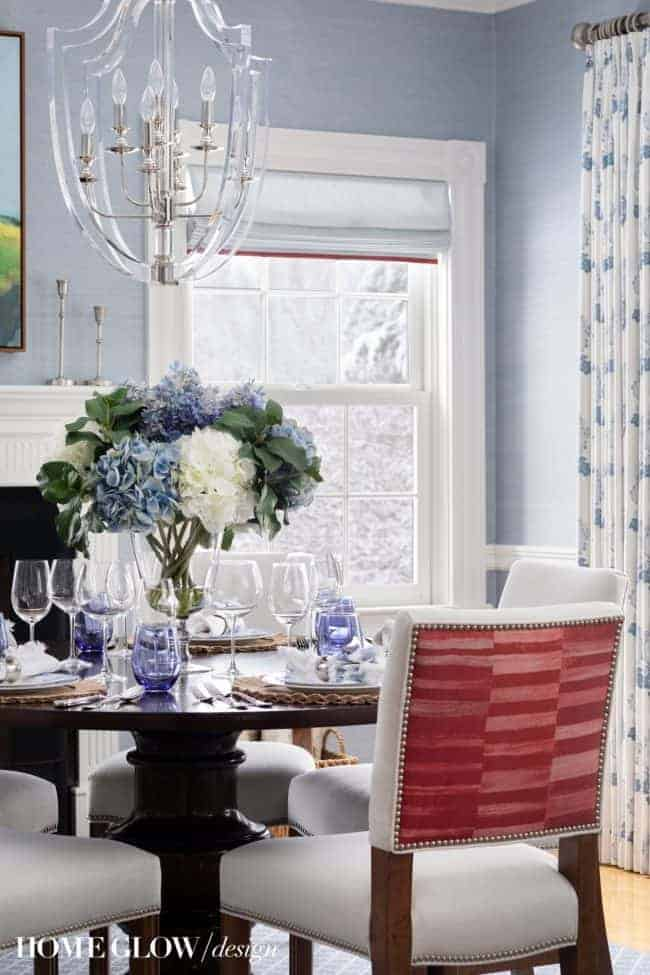 A Grown-Up Dining Room: Project Classic Colonial Revival REVEAL! blue grasscloth