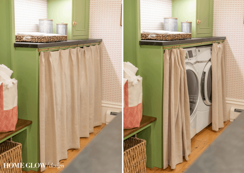 Green Butler's Pantry/Laundry Combo in a Small Space