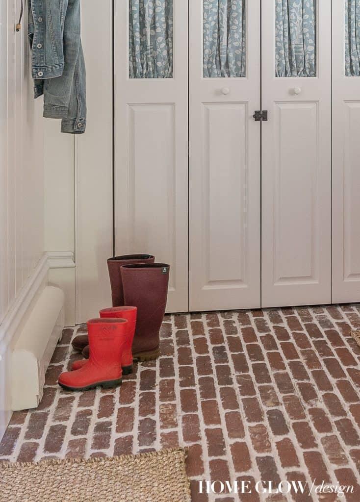 Remuddle Remodel REVEAL! -- The Boot Room, Mudroom, Brick floor
