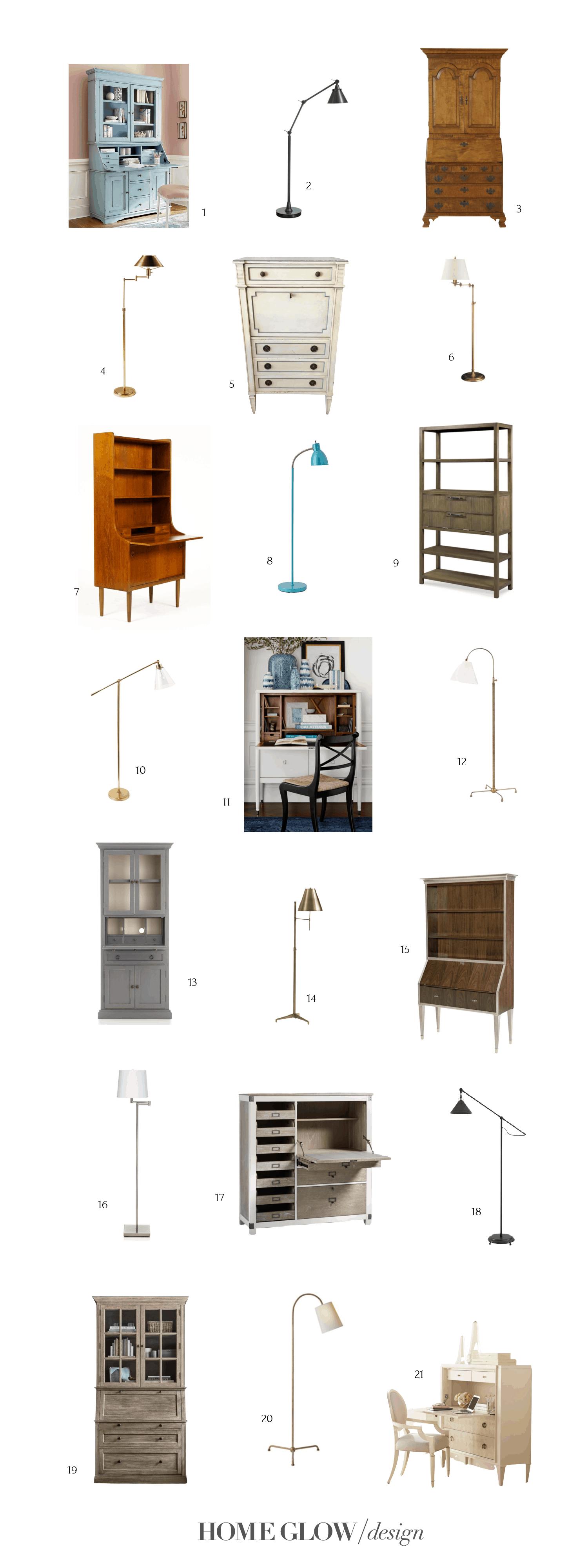 The Perfect Desk Set: 21 Floor Lamps & Secretary Desks