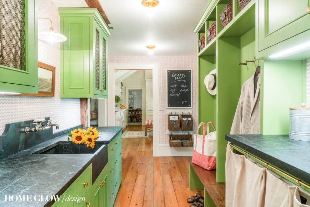 Green cabinets pantry laundry room