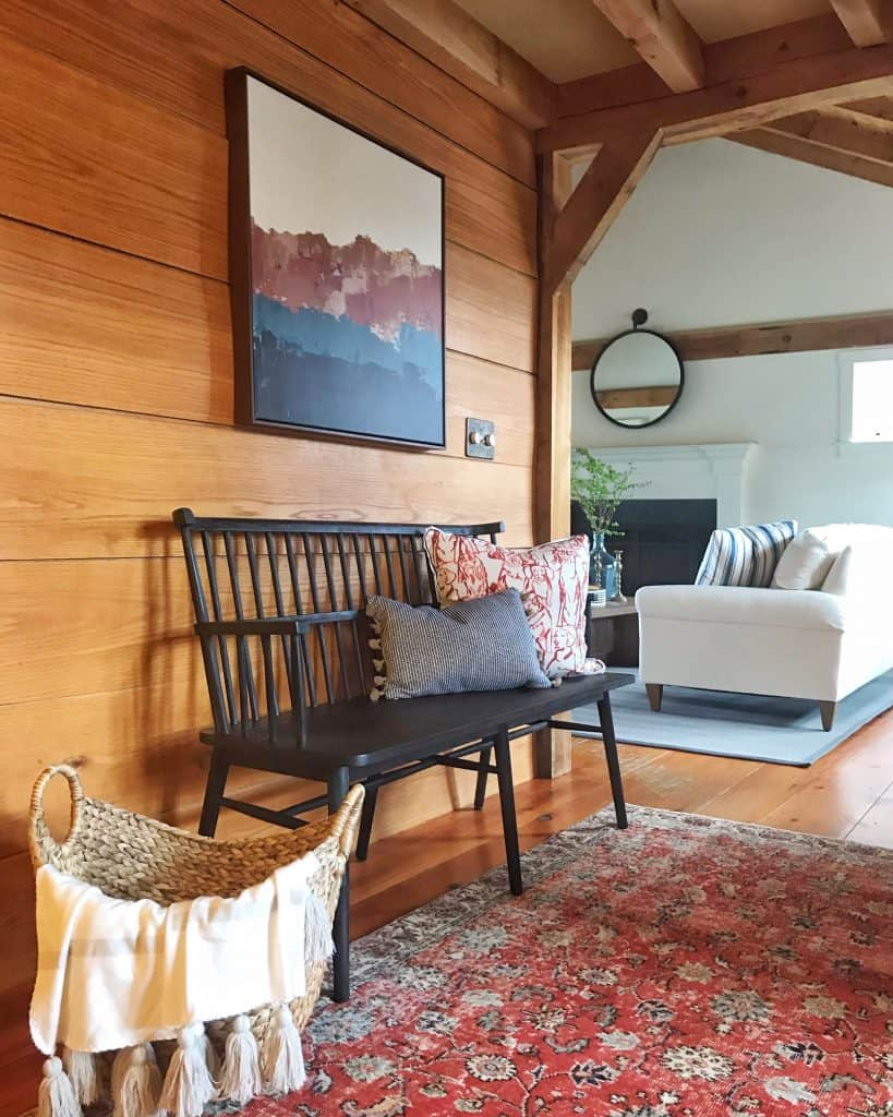 Modern Rustic Entry with Windsor Bench, Vintage Rug -- Home Glow Design