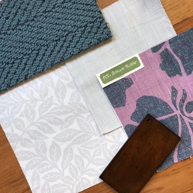 Blue Gray Purple Entry Design Scheme with Wallpaper
