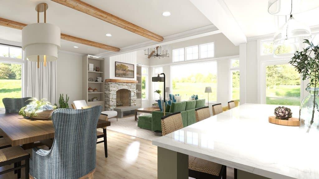 Lake House Open Floor Plan Great Room Renderings
