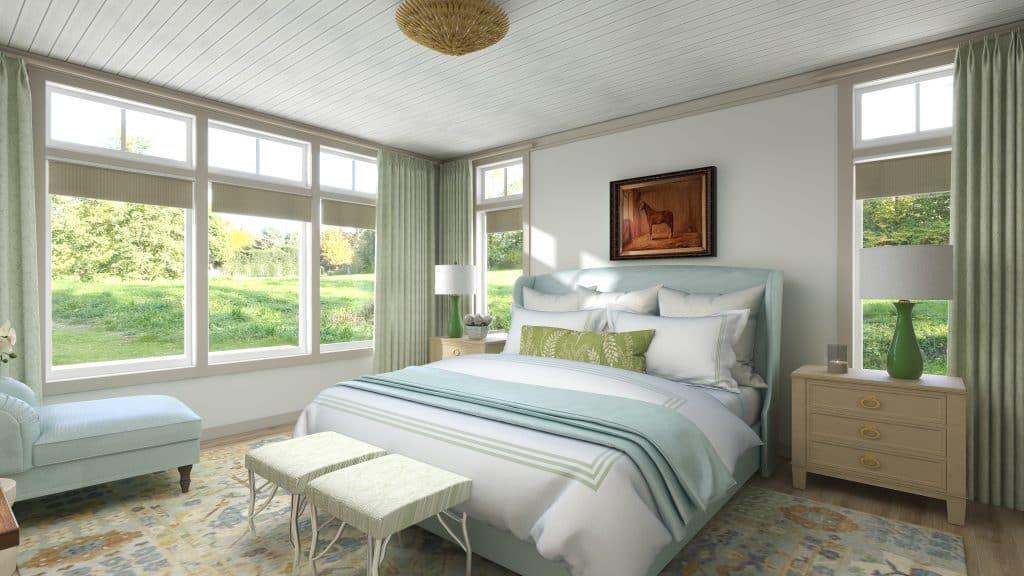 Layered Lake House Master Bedroom