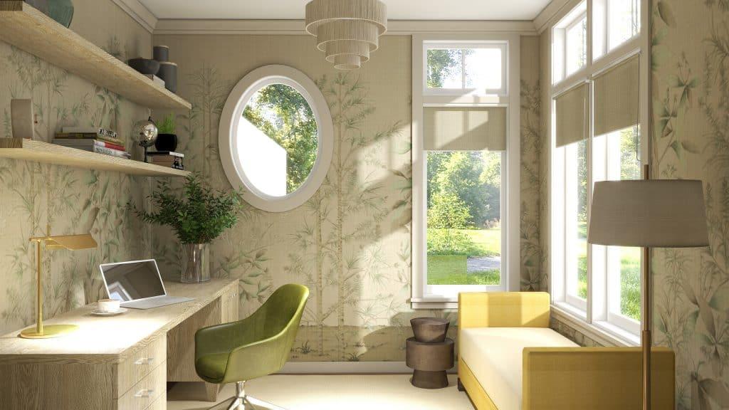 Feminine Modern Office with Mural Wallpaper Design Rendering